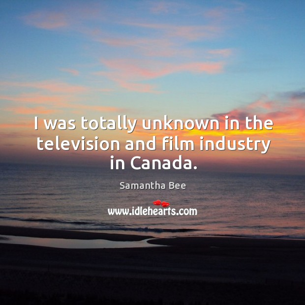 I was totally unknown in the television and film industry in canada. Samantha Bee Picture Quote