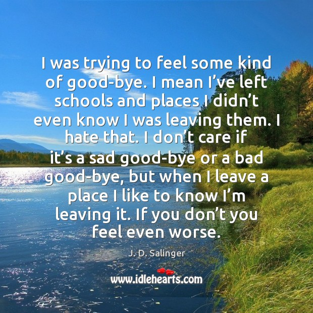 I was trying to feel some kind of good-bye. I mean I' J. D. Salinger Picture Quote