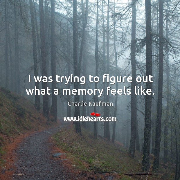 I was trying to figure out what a memory feels like. Image