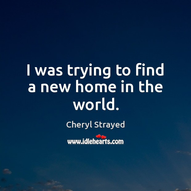 I was trying to find a new home in the world. Image