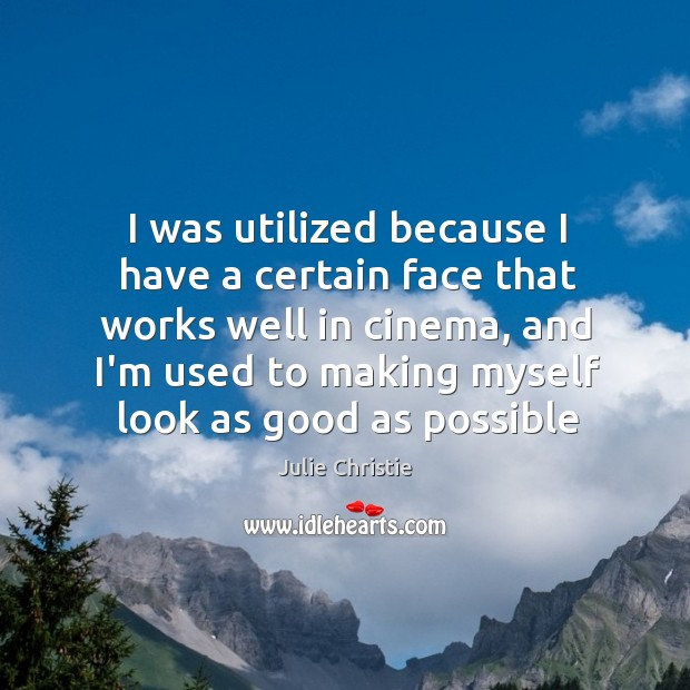 I was utilized because I have a certain face that works well Julie Christie Picture Quote