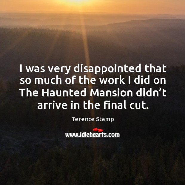 I was very disappointed that so much of the work I did on the haunted mansion didn't arrive in the final cut. Image