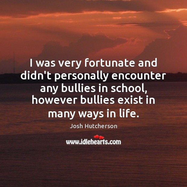 I was very fortunate and didn't personally encounter any bullies in school, Josh Hutcherson Picture Quote