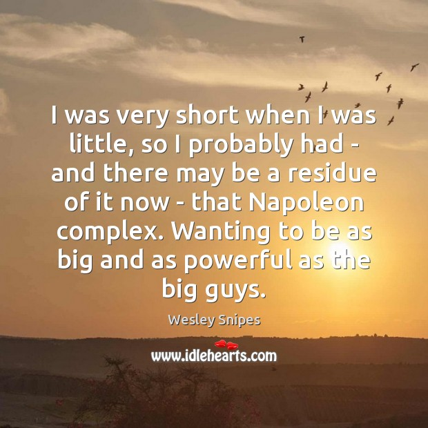 I was very short when I was little, so I probably had Wesley Snipes Picture Quote