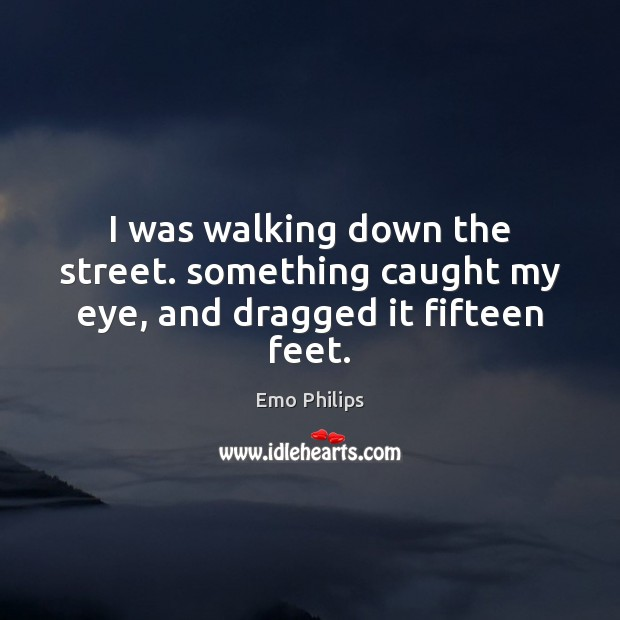 I was walking down the street. something caught my eye, and dragged it fifteen feet. Emo Philips Picture Quote