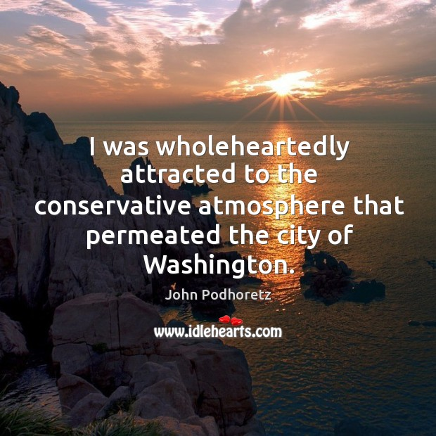I was wholeheartedly attracted to the conservative atmosphere that permeated the city of washington. Image