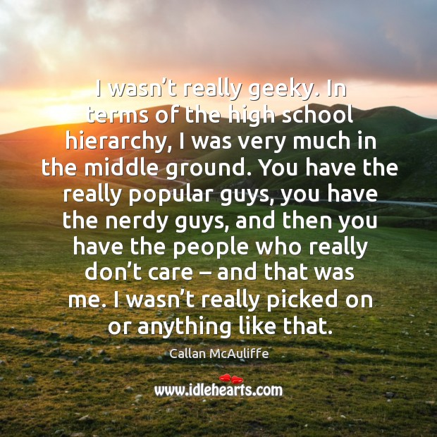 I wasn't really geeky. In terms of the high school hierarchy, I was very much in the middle ground. Image