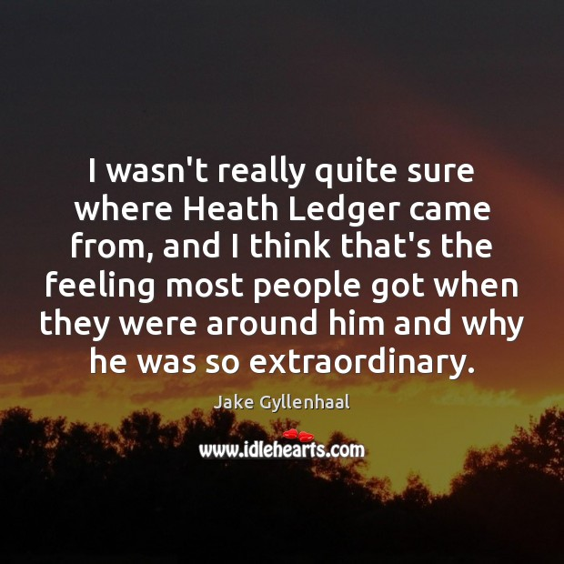 I wasn't really quite sure where Heath Ledger came from, and I Image