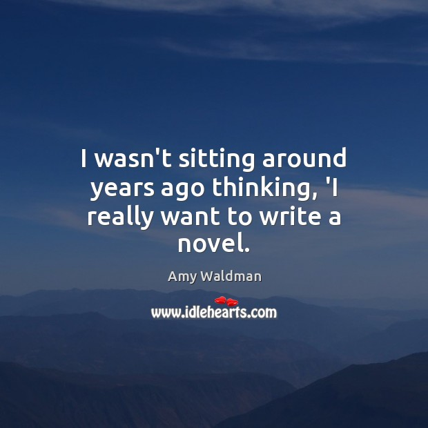 I wasn't sitting around years ago thinking, 'I really want to write a novel. Amy Waldman Picture Quote
