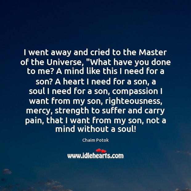 """I went away and cried to the Master of the Universe, """"What Chaim Potok Picture Quote"""