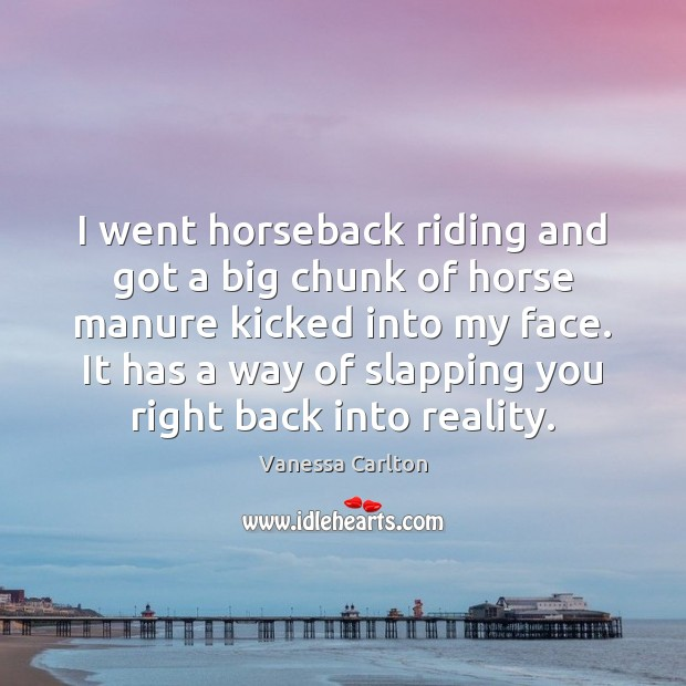 I went horseback riding and got a big chunk of horse manure Vanessa Carlton Picture Quote