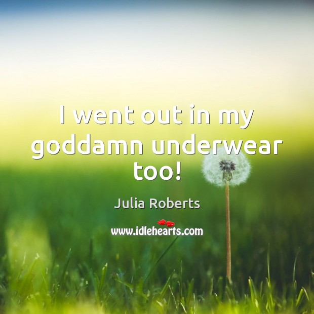 I went out in my Goddamn underwear too! Julia Roberts Picture Quote