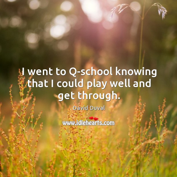 I went to q-school knowing that I could play well and get through. David Duval Picture Quote