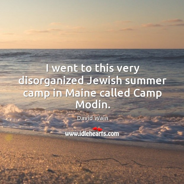I went to this very disorganized jewish summer camp in maine called camp modin. David Wain Picture Quote