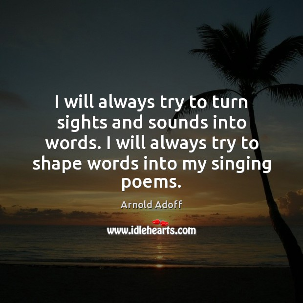 I will always try to turn sights and sounds into words. I Image