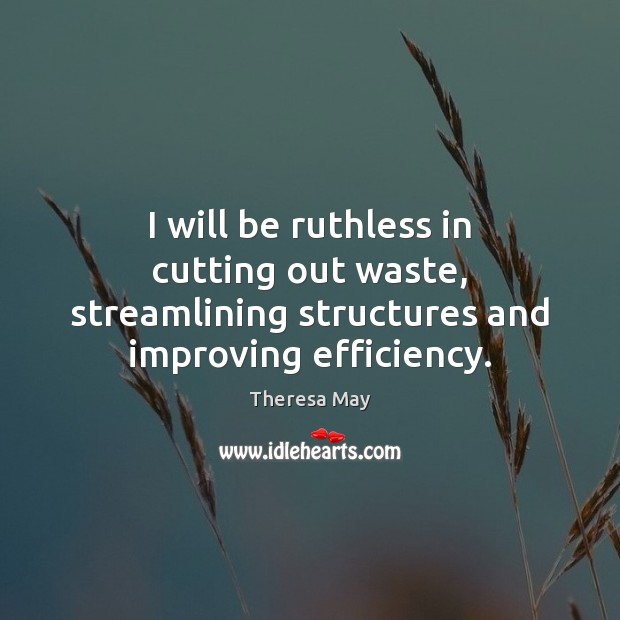 I will be ruthless in cutting out waste, streamlining structures and improving efficiency. Theresa May Picture Quote