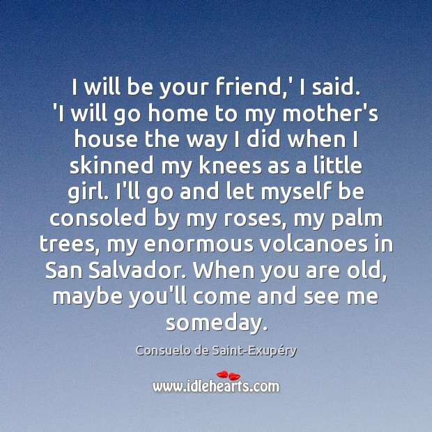 I will be your friend,' I said. 'I will go home Image