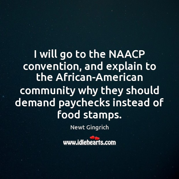 Image, I will go to the NAACP convention, and explain to the African-American