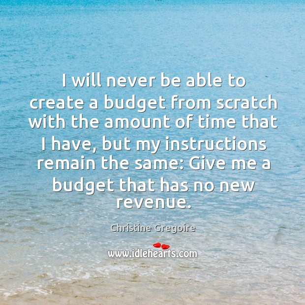 I will never be able to create a budget from scratch with the amount of time that I have Image