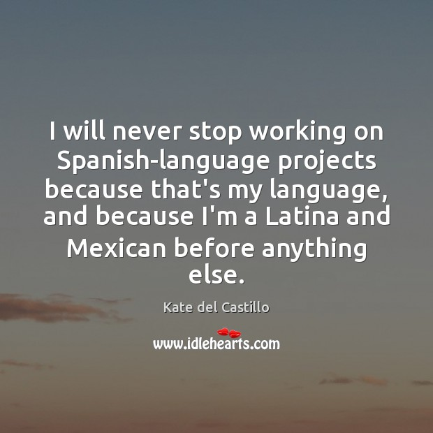 I will never stop working on Spanish-language projects because that's my language, Kate del Castillo Picture Quote