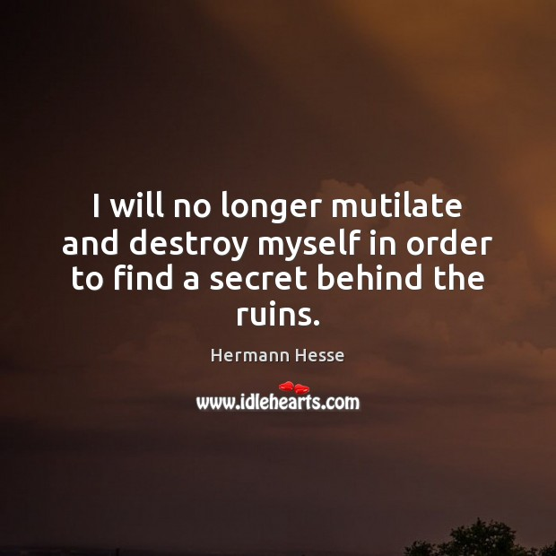 Image, I will no longer mutilate and destroy myself in order to find a secret behind the ruins.