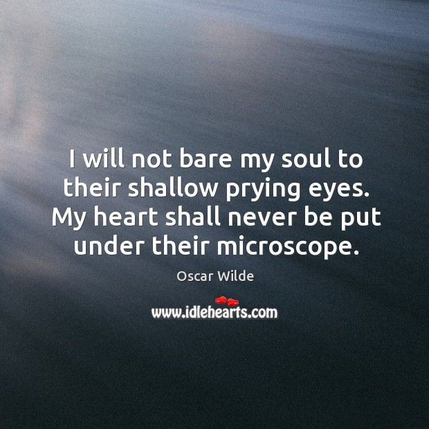Image, I will not bare my soul to their shallow prying eyes. My