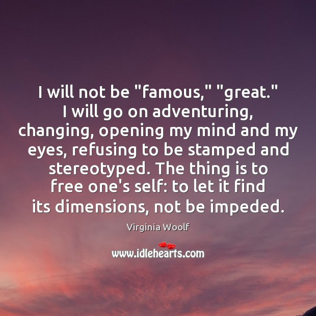 "Image, I will not be ""famous,"" ""great."" I will go on adventuring, changing,"