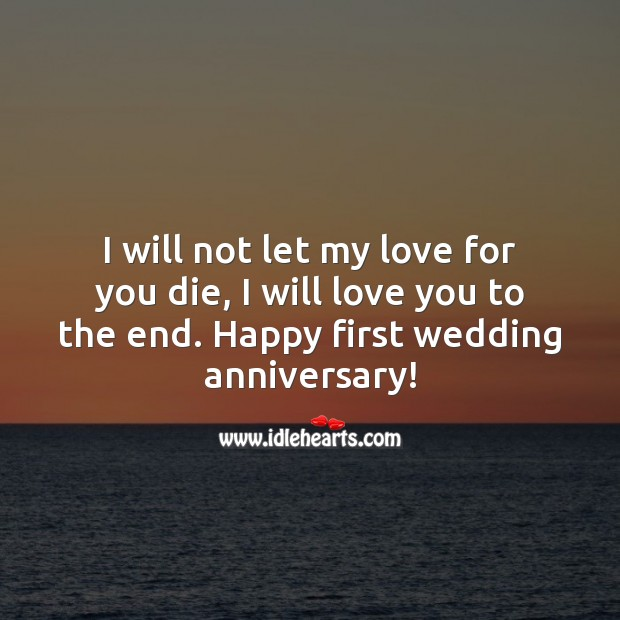 I will not let my love for you die, I will love you to the end. Happy anniversary! Happy First Anniversary Messages Image