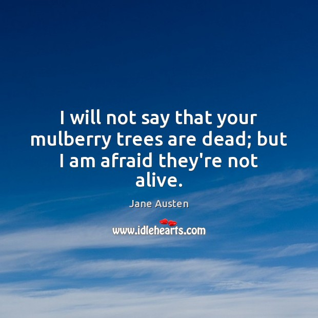 I will not say that your mulberry trees are dead; but I am afraid they're not alive. Jane Austen Picture Quote