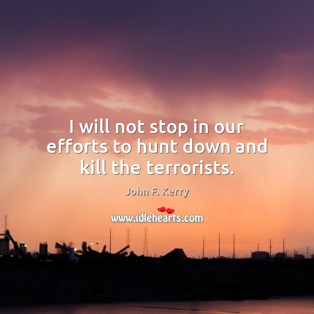 Image, I will not stop in our efforts to hunt down and kill the terrorists.
