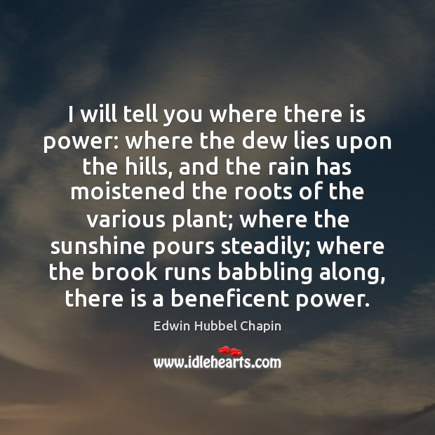 I will tell you where there is power: where the dew lies Edwin Hubbel Chapin Picture Quote