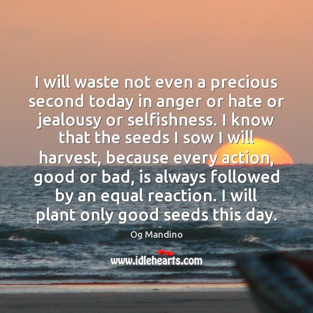 I will waste not even a precious second today in anger or Og Mandino Picture Quote