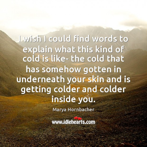 I wish I could find words to explain what this kind of Marya Hornbacher Picture Quote