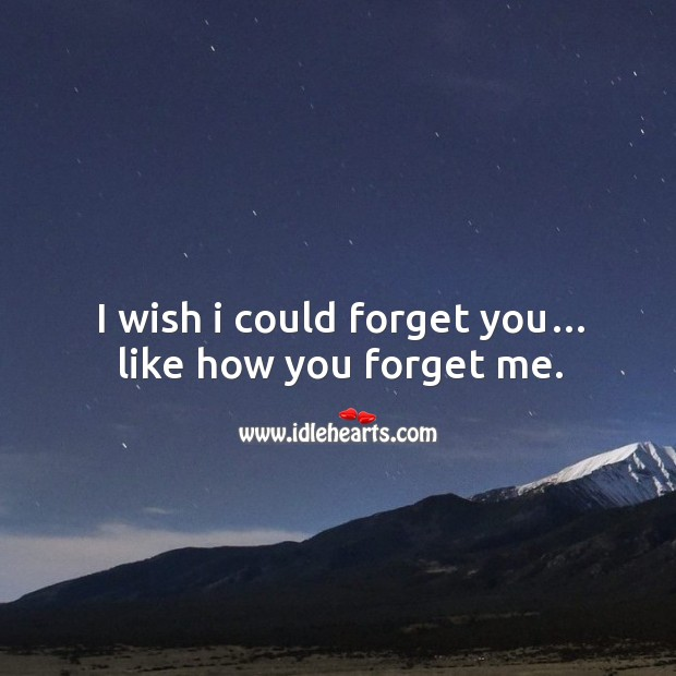 I wish I could forget you… like how you forget me. Image