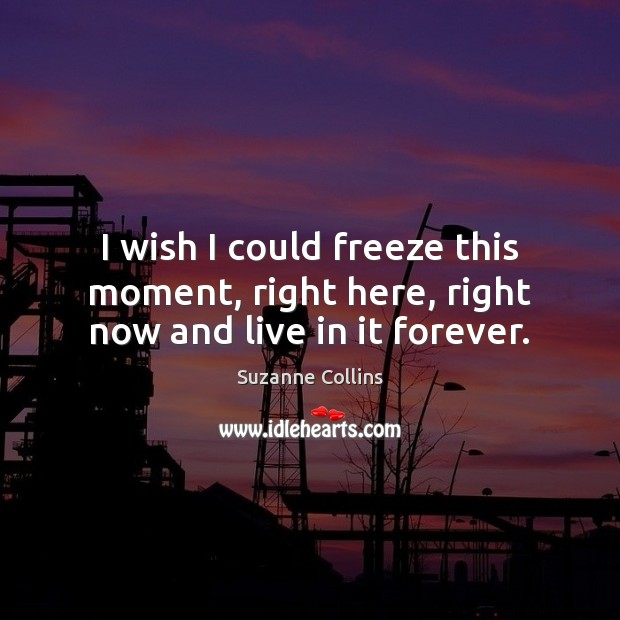 I wish I could freeze this moment, right here, right now and live in it forever. Suzanne Collins Picture Quote