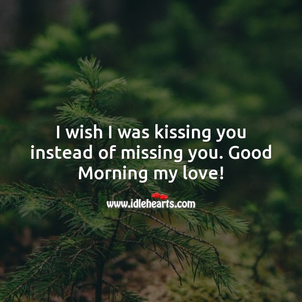 I wish I was kissing you instead of missing you. Good Morning my love! Kissing Quotes Image