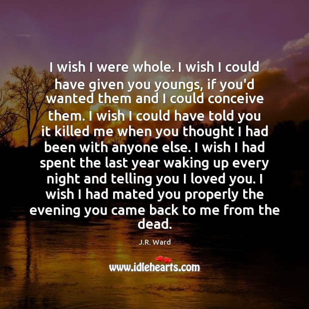 I wish I were whole. I wish I could have given you Image