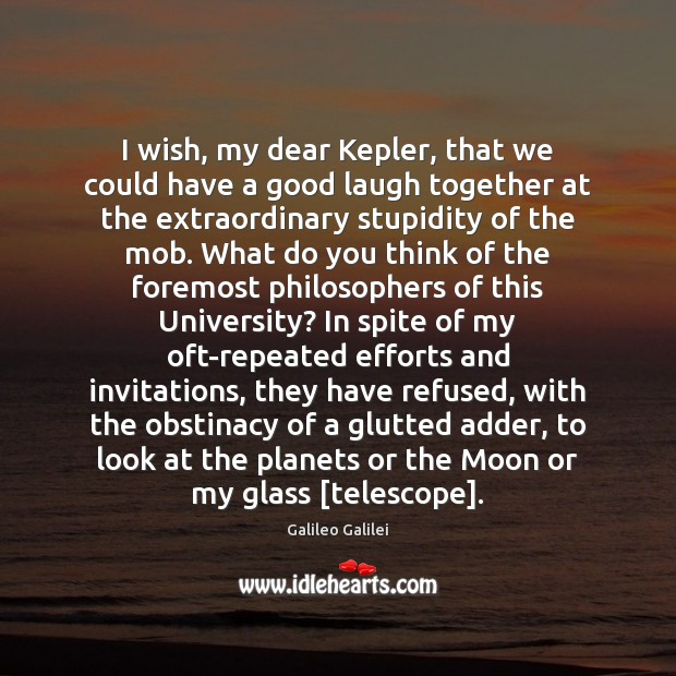 I wish, my dear Kepler, that we could have a good laugh Galileo Galilei Picture Quote