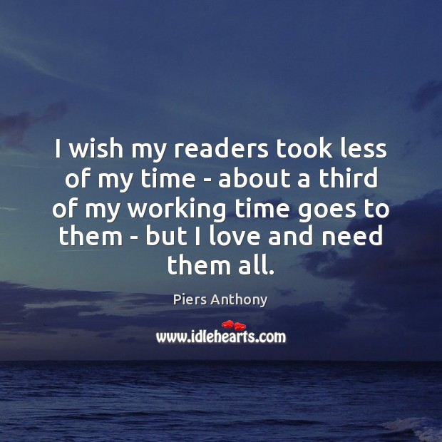I wish my readers took less of my time – about a Image