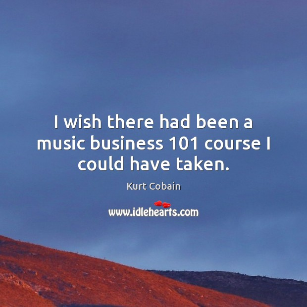 I wish there had been a music business 101 course I could have taken. Image