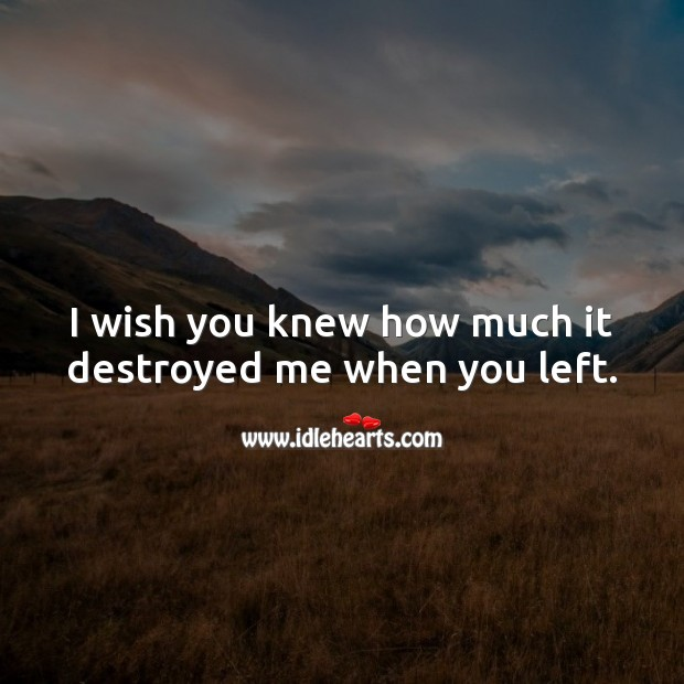 I wish you knew how much it destroyed me when you left. Broken Heart Quotes Image