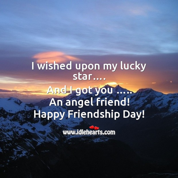 I wished upon my lucky star and I got you an angel friend! Friendship Day Messages Image