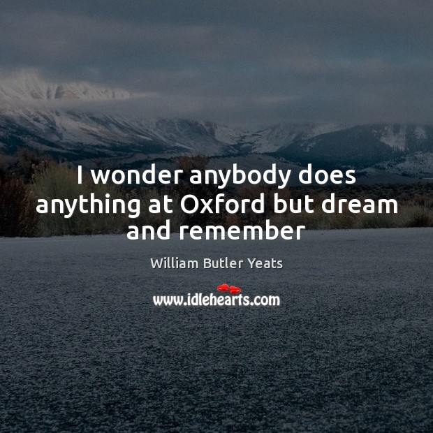 Image, I wonder anybody does anything at Oxford but dream and remember