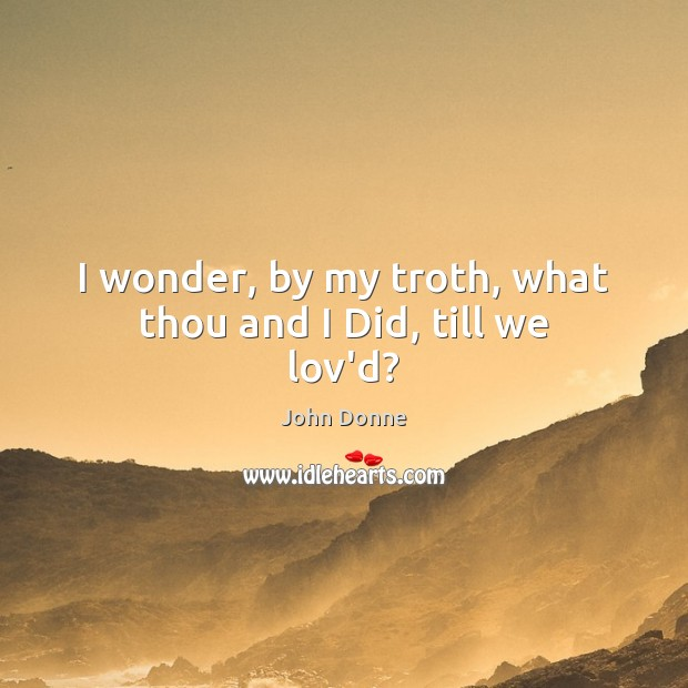 I wonder, by my troth, what thou and I Did, till we lov'd? Image