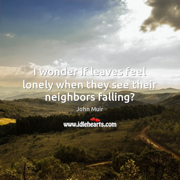 I wonder if leaves feel lonely when they see their neighbors falling? John Muir Picture Quote