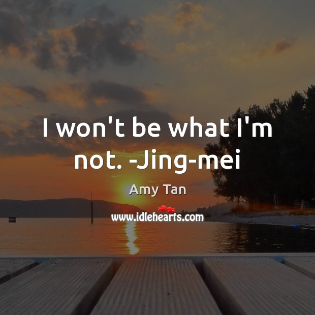 I won't be what I'm not. -Jing-mei Image