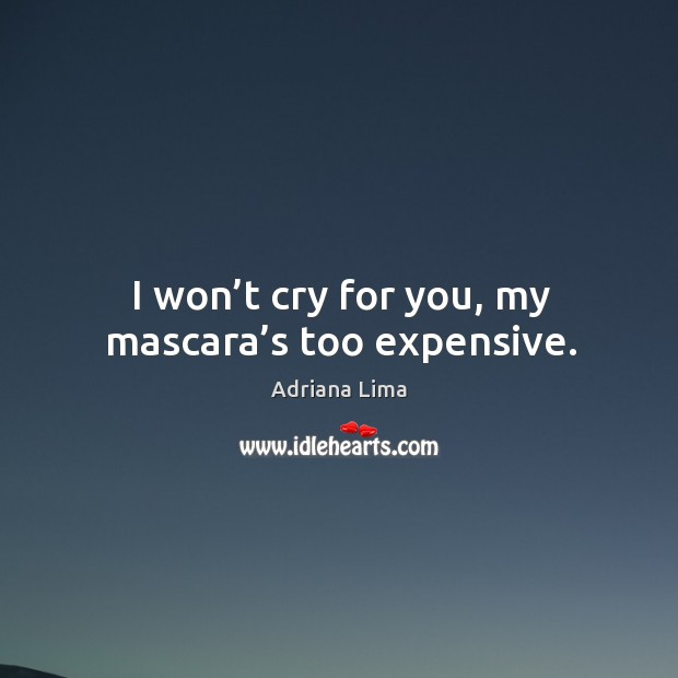 I won't cry for you, my mascara's too expensive. Image