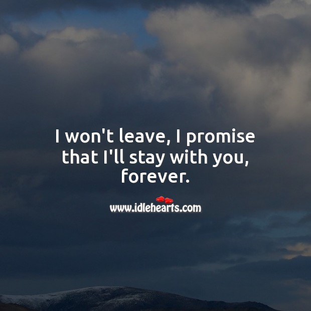 Image, I won't leave, I promise that I'll stay with you, forever.