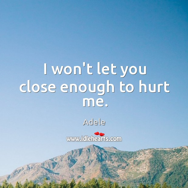 I won't let you close enough to hurt me. Image