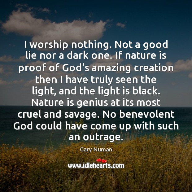 I worship nothing. Not a good lie nor a dark one. If Lie Quotes Image